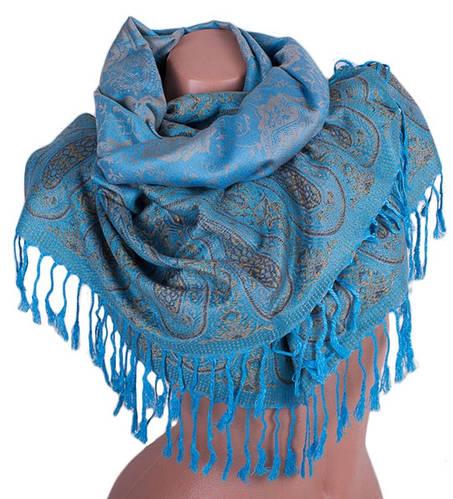 Нежный женский двусторонний палантин из пашмины 170 на 70 см ETERNO (ЭТЕРНО) ES0206-2-blue-yellow голубой