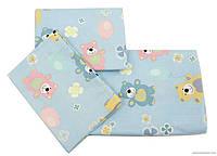 Комплект постельного белья в детскую кроватку Мишки с шариками, голубой