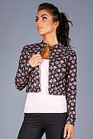 Короткий женский жакет из джинс-коттона   чёрный