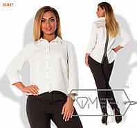 Модная женская рубашка на молнии сзади декор гипюр белая