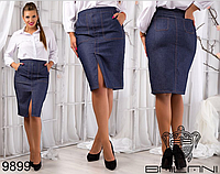Джинсовая женская юбка, большие размеры ( р. 48-54 )