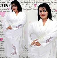 Махровый халат банный, белый