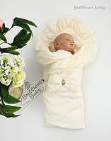 """Летний конверт для новорожденных """"Гербера"""" (айвори), фото 1"""