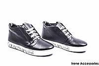 Ботинки женские кожаные Olli (кеды низкие комфортные, байка)