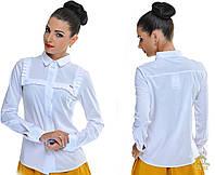 Женская блуза -рубашка с длинным рукавом. Цвет: синий, белый, персик, голубой Размеры: S, M, L, XL OD 5193