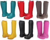 Сапоги женские резиновые дождевики высокие мягкие CROCS RainFloe Boot
