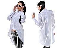 Женская рубашка удлиненная сзади с длинным рукавом. Цвет: черный, мята, красный, белыйРазмеры: S, M, L, XL OD