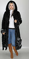 Эко Шуба с капюшоном,черная норка 42-44,46-48,50-52