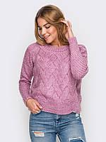 Молодежный короткий вязаный свитер р.44-48