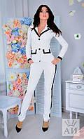 """Деловой женский брючный костюм """"Chanel"""" с контрастными вставками (2 цвета)"""