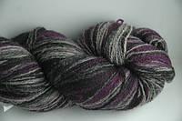 Цветная пряжа для вязания Кауни black-lila 800 Для рукоделия натуральная шерстяная пряжа