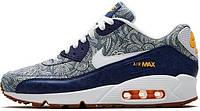 Женские кроссовки Nike Air Max 90 Premium (найк аир макс 90) синие