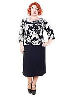 Платье большого размера Роза Батал (2 цвета), дропшиппинг, платье с цветами большого размера, дропшиппинг