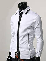Мужская стильная рубашка Лео белая с длинным рукавом