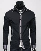 Мужская стильная рубашка Лео чрная  с длинным рукавом