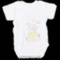 Детский боди-футболка на запах р. 80, на кнопках, хлопок (мультирип), ТМ Виктория, Белый