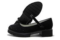 Туфли для девочки Kimbo-o с ремешком черные с камушками 27-32р.