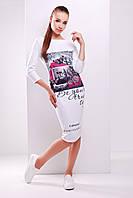 Белое трикотажное платье миди с рисунком