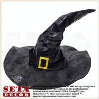 Колпак Ведьма (для ведьмы) гибкий чёрный (черный) с металлическим каркасом