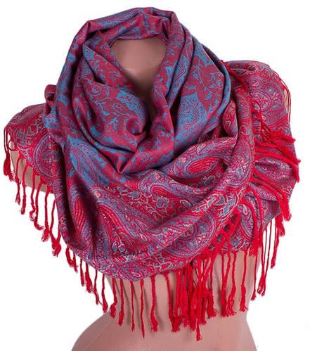 Яркий женский двусторонний палантин из пашмины 175 на 69 см ETERNO (ЭТЕРНО) ES0206-2-red-blue красный