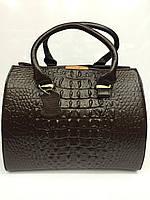 Женский кожаный саквояж Gelisha с тиснением под крокодила, коричневый