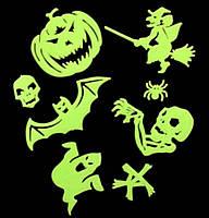 """Набор светящихся в темноте флуоресцентных наклеек на Halloween """"Страшилки"""""""