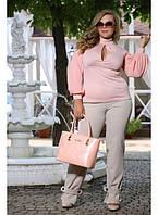Женская нарядная блуза Парфюм цвет пудра до 72 размера
