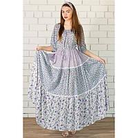 Платье в пол Цветочек + косынка Фиолетовое купить