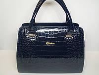 Женская лаковая сумка под рептилию темно-синего цвета