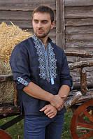 Стильная мужская вышиванка синего цвета