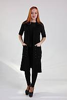 Стильное женское пальто-жилет черного цвета