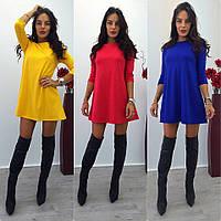 Женское красивое повседневное платье-трапеция с бантиком сзади (3 цвета)