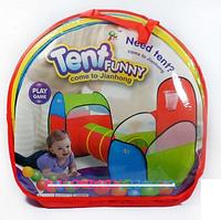 Палатка детская двойная с тоннелем и баскетбольным кольцом A999-202