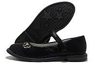 Туфли для девочки Kimbo-o с ремешком черные с бантиком 27-32р.