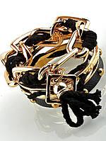 Браслет цепь со шнурком, черный, женский, бижутерия 'FJ' украшение №030890