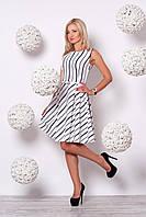 Платье молочного цвета в контрастную полоску, фото 1