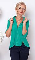 Женская шифоновая блуза зеленого цвета с рукавом три четверти, застежка пуговицы.