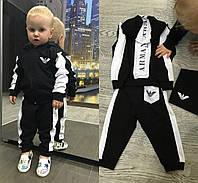 """Детский стильный костюм """"Армани"""" со значком в комплекте: кофта с капюшоном и штаны (4 цвета)"""