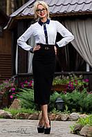 Элегантная деловая юбка карандаш с поясом черного цвета