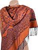 Стильный женский кашемировый палантин размером 70*180 см Подиум 32079-3 (оранжевый с фиолетовым)