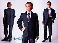 Подростковый деловой костюм Антон т.серый в клеточку , школьная форма для мальчика