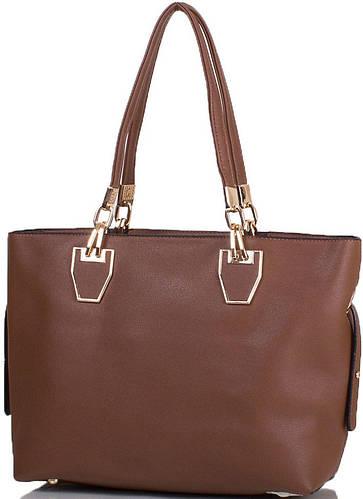 Коричневая женская сумка из качественной искусственной кожи ANNA&LI (АННА И ЛИ) TU14469-brown (коричневый)