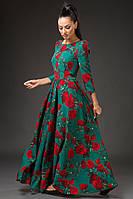 Платье женское с поясом в пол цветочный принт, фото 1