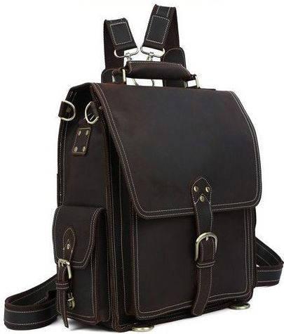 Стильный кожаный  рюкзак-сумка 17 л TIDING BAG t1097 коричневый