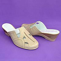 Женские бежевые кожаные сабо с закрытым носочком. 39 и 41 размер