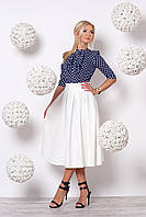 Женский костюм двойка 645 (т.синяя блузка молочная юбка)