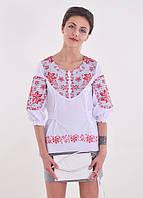 Праздничная блуза вышиванка  с красным орнаментом сзади с поясом