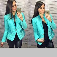 Куртка пиджак женская плащевка на синтепоне вставки на вороте и карманах  кожзам размеры С М Л