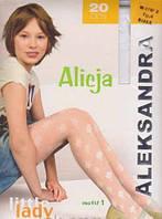 Детские колготы Alicja с ажурным узором 20 DEN (белые, рис.1)