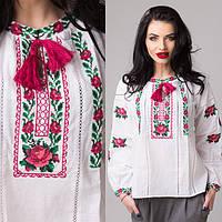 Стильная женская сорочка вышиванка из льна с красивым букетом роз